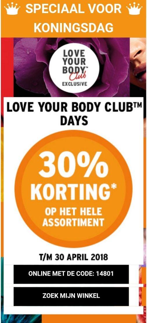 30% korting op het hele assortiment @ The Body Shop