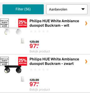 "Philips HUE White Ambiance ""duospot"" of ""enkele"" Buckram - wit of zwart"