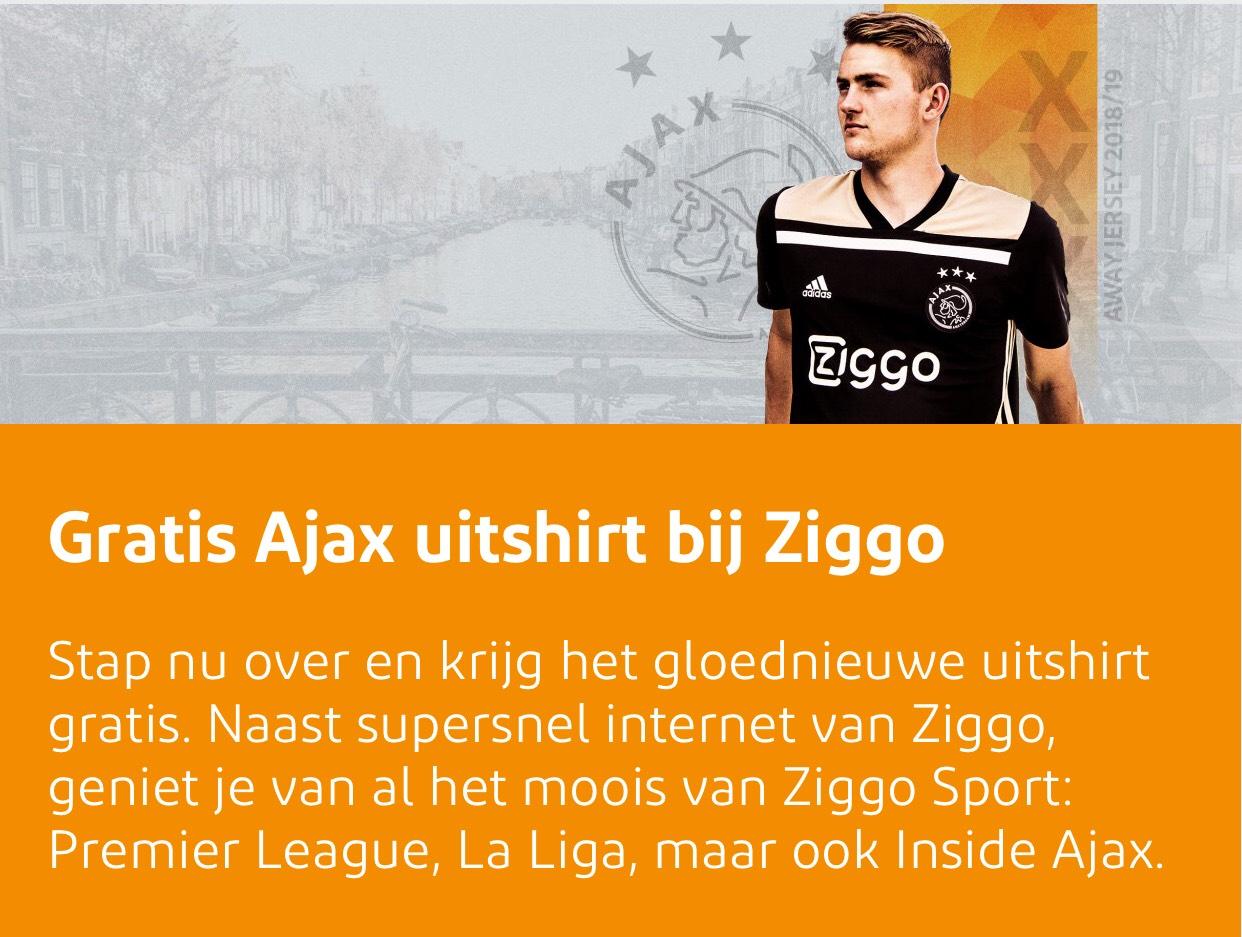 Gratis Ajax uitshirt bij Ziggo.