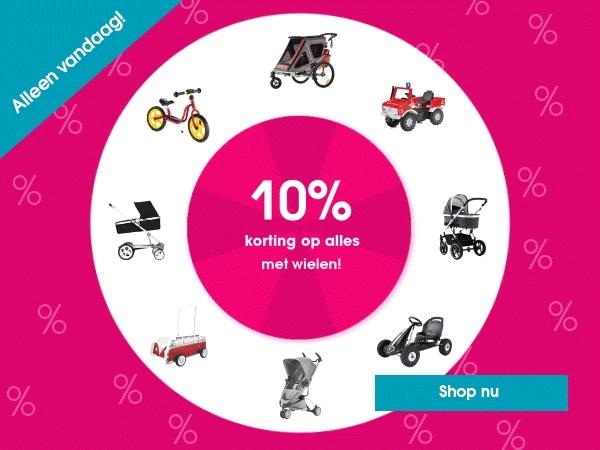 Alleen vandaag 10% extra korting op alles met wielen @ Pinkorblue