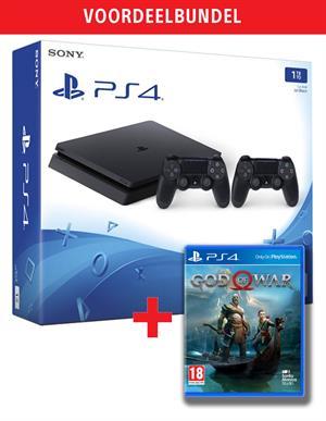 PlayStation 4 Slim 1TB Black + 2 DualShock 4 Controllers + God of War @ Gamemania