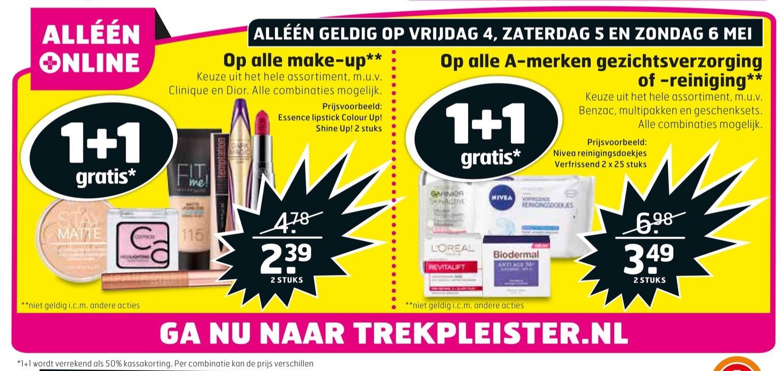 Trekpleister weekendaanbieding (4 t/m 6 mei): 1+1 op alle make-up & 1+1 op alle A-merk gezichtsverzorging of - reiniging