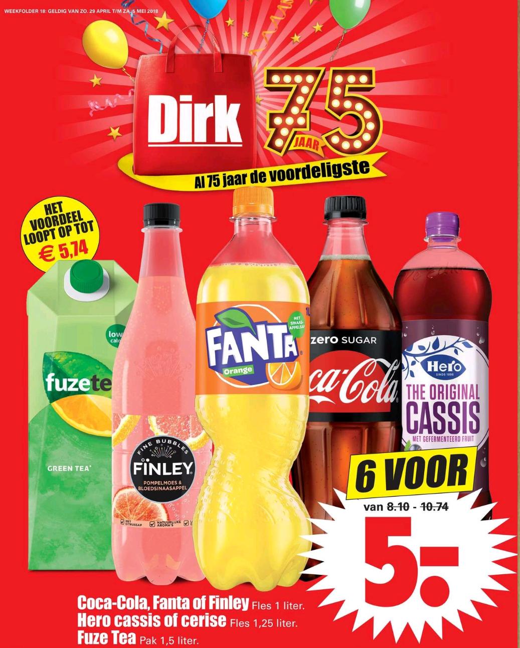 Coca-cola, Fanta, Finley, Hero of Fuze tea 6 voor 5 euro @ Dirk van der Broek