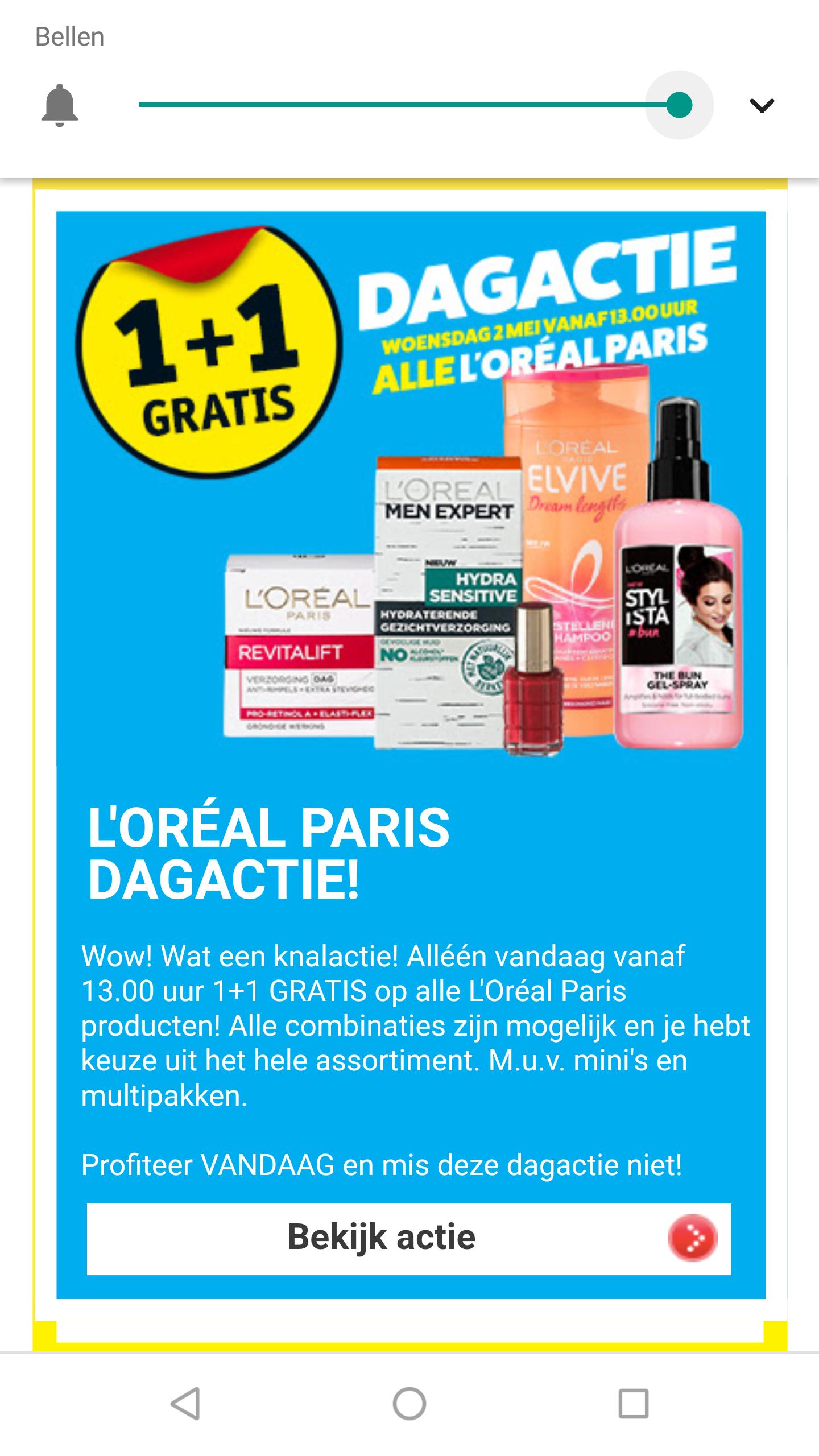 Dagactie: 1+1 gratis op alles van L'Oréal Paris @ Kruidvat
