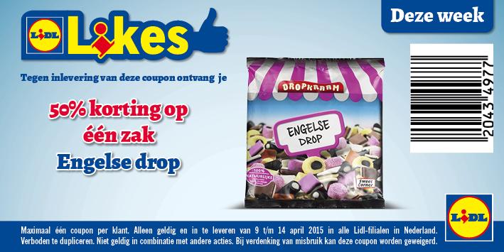 50% korting op een zak Dropkraam Engelse drop door coupon @ Lidl