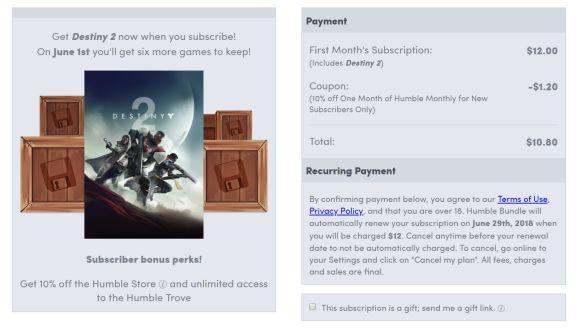 Destiny 2 (PC) voor 9 euro bij Humble Bundle Monthly