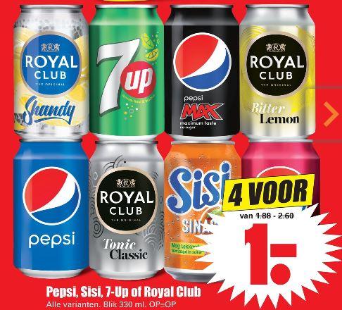 Pepsi, Sisi, 7-Up of Royal Club VIER blikjes voor 1,- @ Dirk