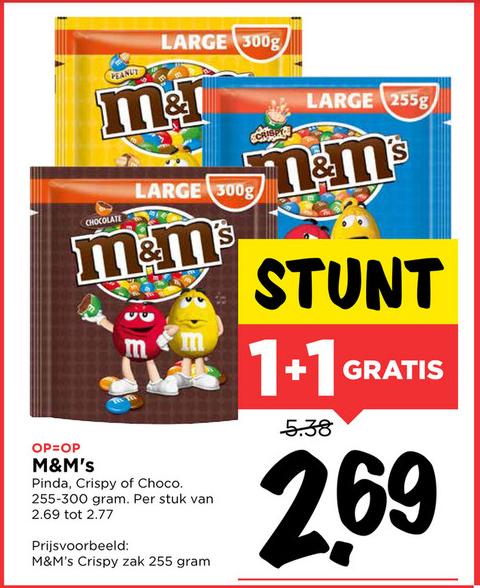 M&M's 1+1 Gratis bij Vomar