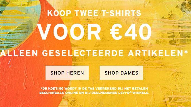 Actie: 2 shirts voor €40 @ Levi's
