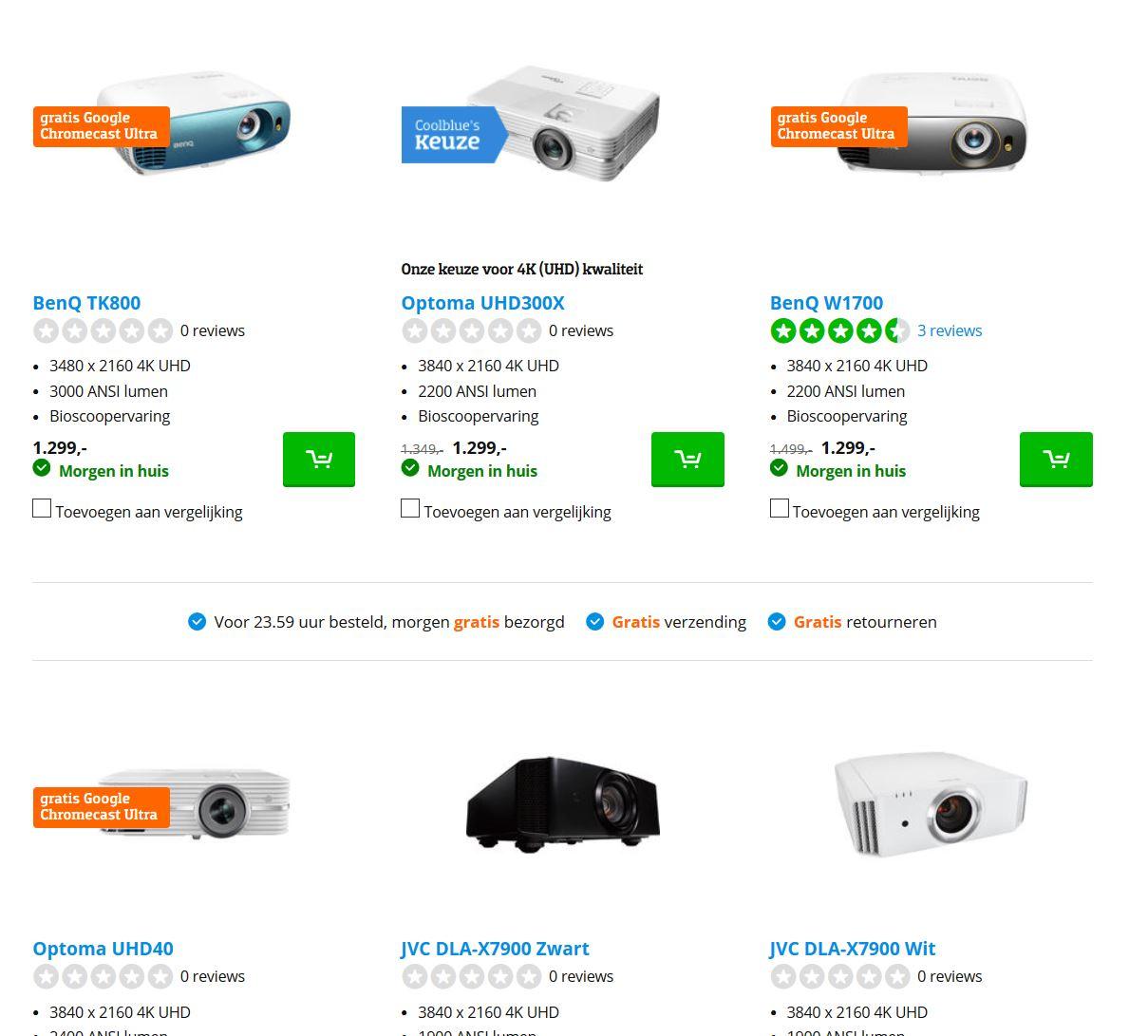 Gratis Chromecast Ultra bij 4K beamers @Coolblue