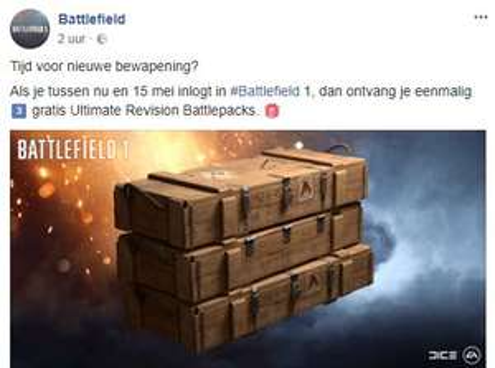 Gratis Battlepack bij spelen Battlefield 1