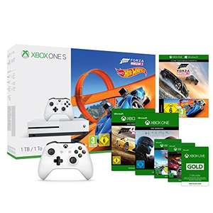 Xbox One S 1TB Console + Forza Horizon 3 + Hot Wheels DLC + Wireless Controller wit incl. Steep, Forza Horizon 2 + Halo 5 and The Crew Download-codes + Xbox Live 3 maanden voor €258,09 @ Amazon.de