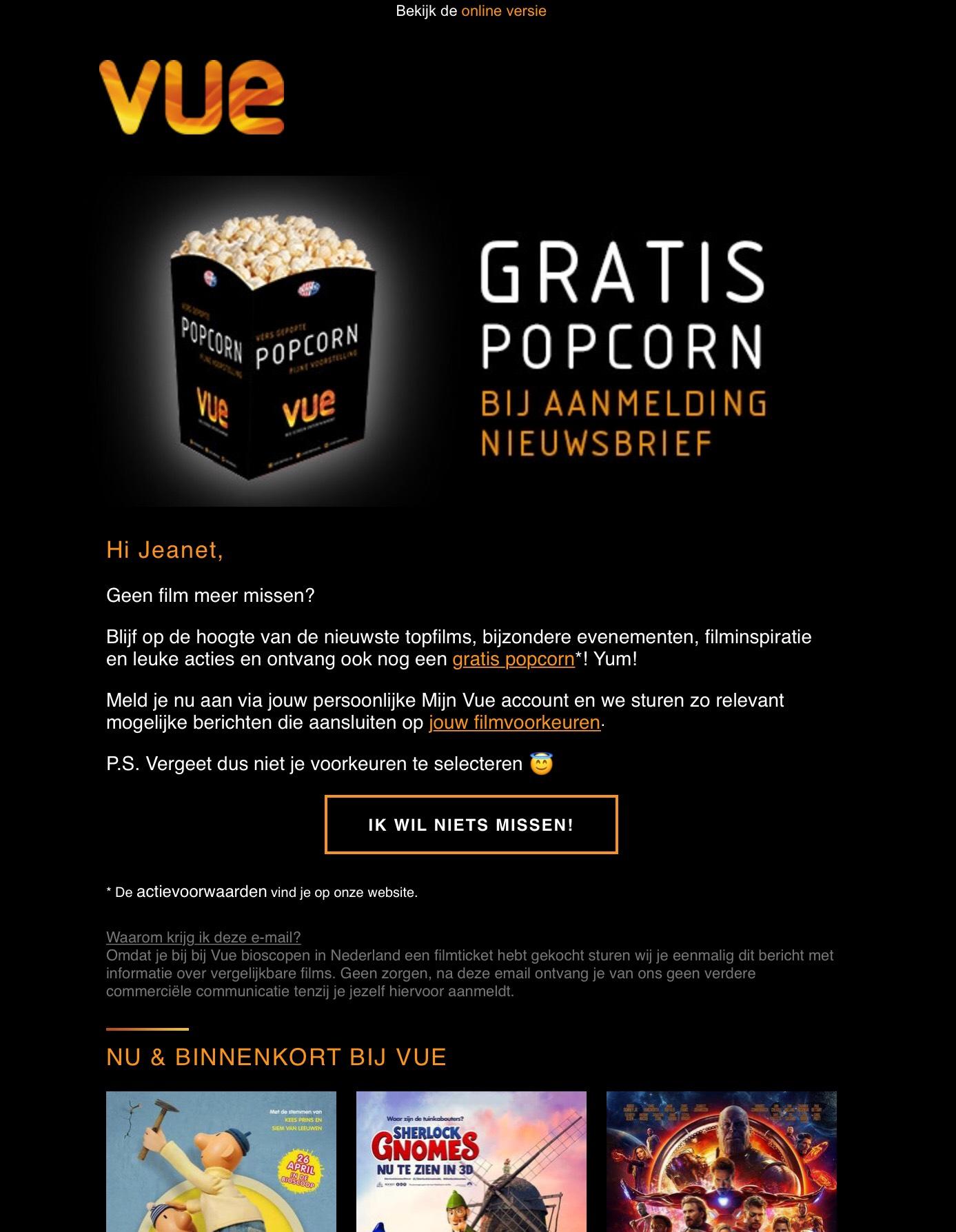Gratis kleine popcorn bij Bioscoop Vue