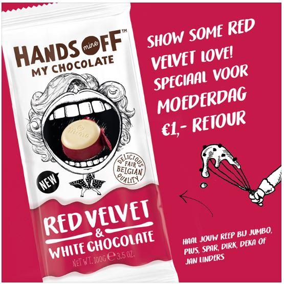 Deels geld terug actie op Hands off Red Velvet & White Chocolade @ div. supermarkten