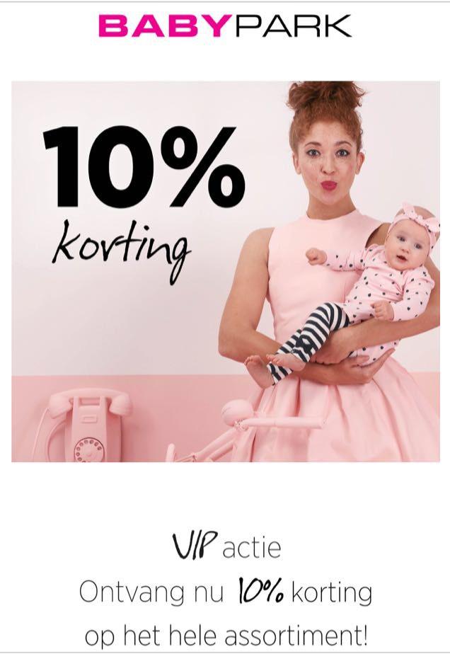 10% korting op het hele assortiment bij babypark.nl