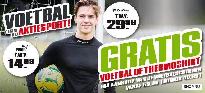 Gratis Puma voetbal of een Lotto thermoshirt bij aankoop van voetbalschoenen @ Aktiesport