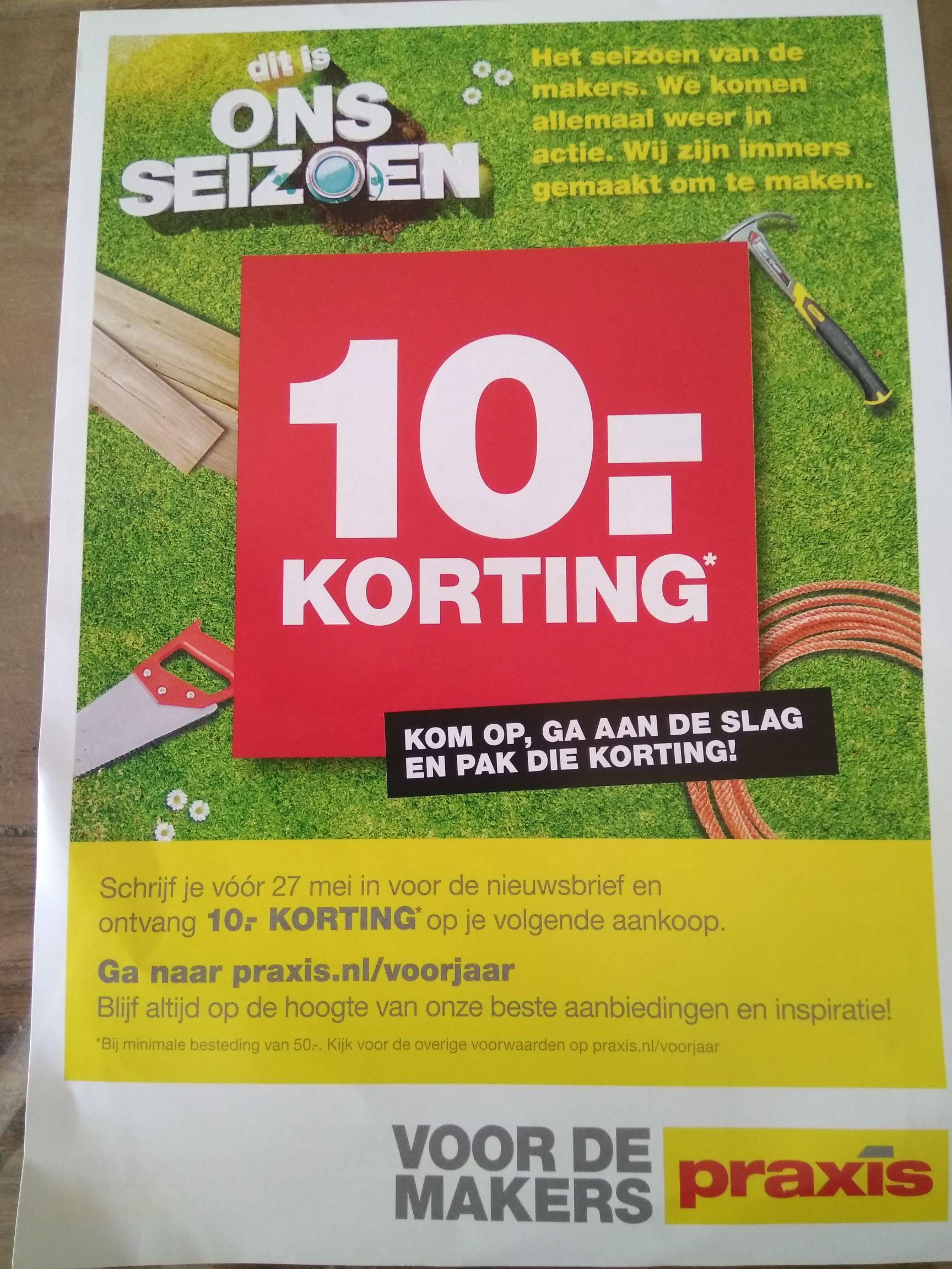 10 euro korting bij besteding vanaf 50 euro. Inschrijven nieuwsbrief.