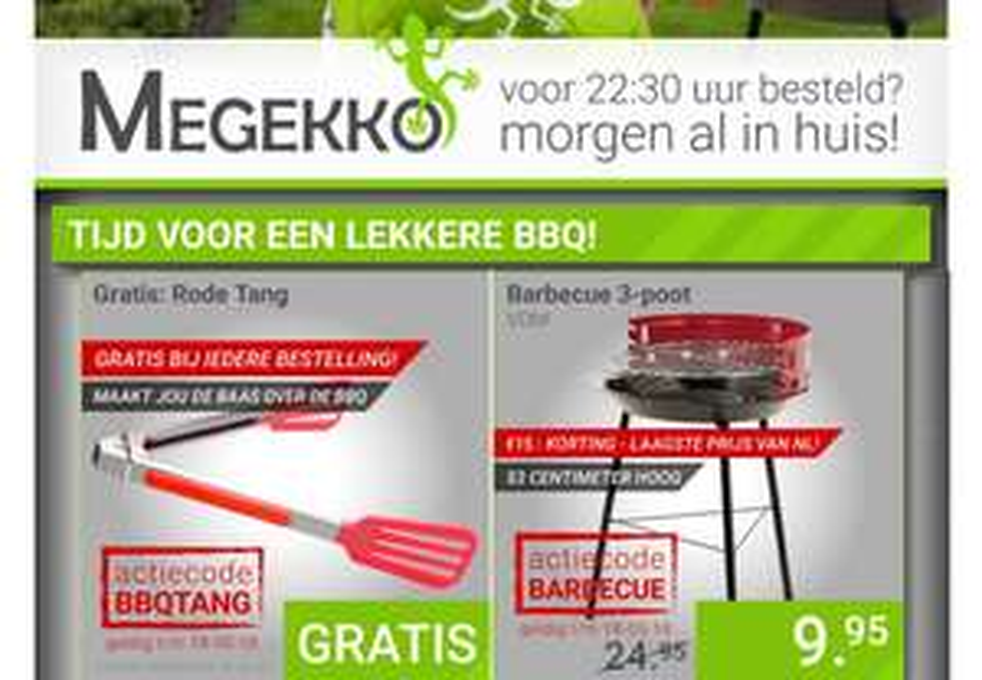 Barbecue 3-poot voor €9,95 + gratis barbecue tang bij iedere bestelling @ Megekko