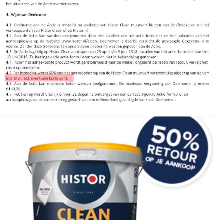 Tijdelijk 50% retour op alle Histor Clean producten. Ook op aanbieding en mengverf!