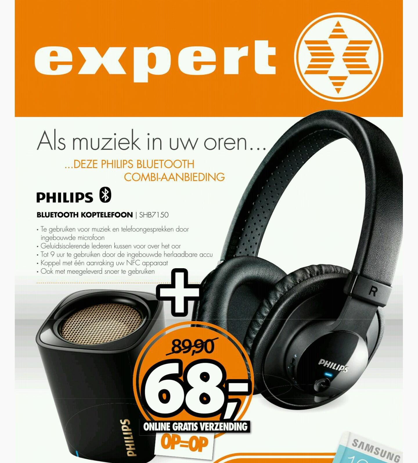 Philips SHB7150FB Hoofdtelefoon + Philips BT100B Minispeaker voor €68,- @ Expert