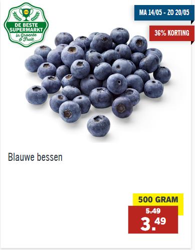 Blauwe bessen 500g voor €3,49 bij Lidl