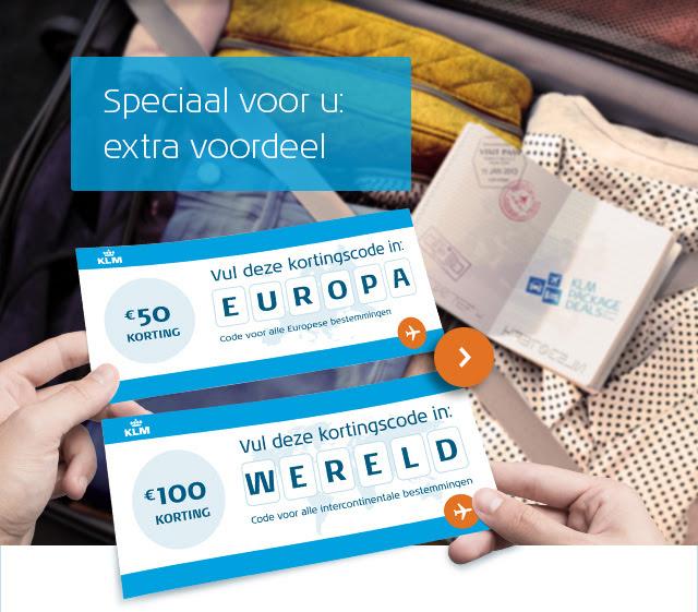 € 50 of € 100,- korting op KLM Package Deals @ KLM.com