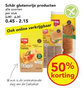 Schär glutenvrije producten -50% bij de Deen