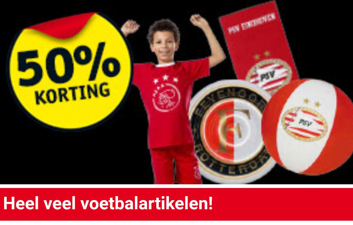 50% korting op voetbal artikelen Ajax Feyenoord PSV @Kruidvat
