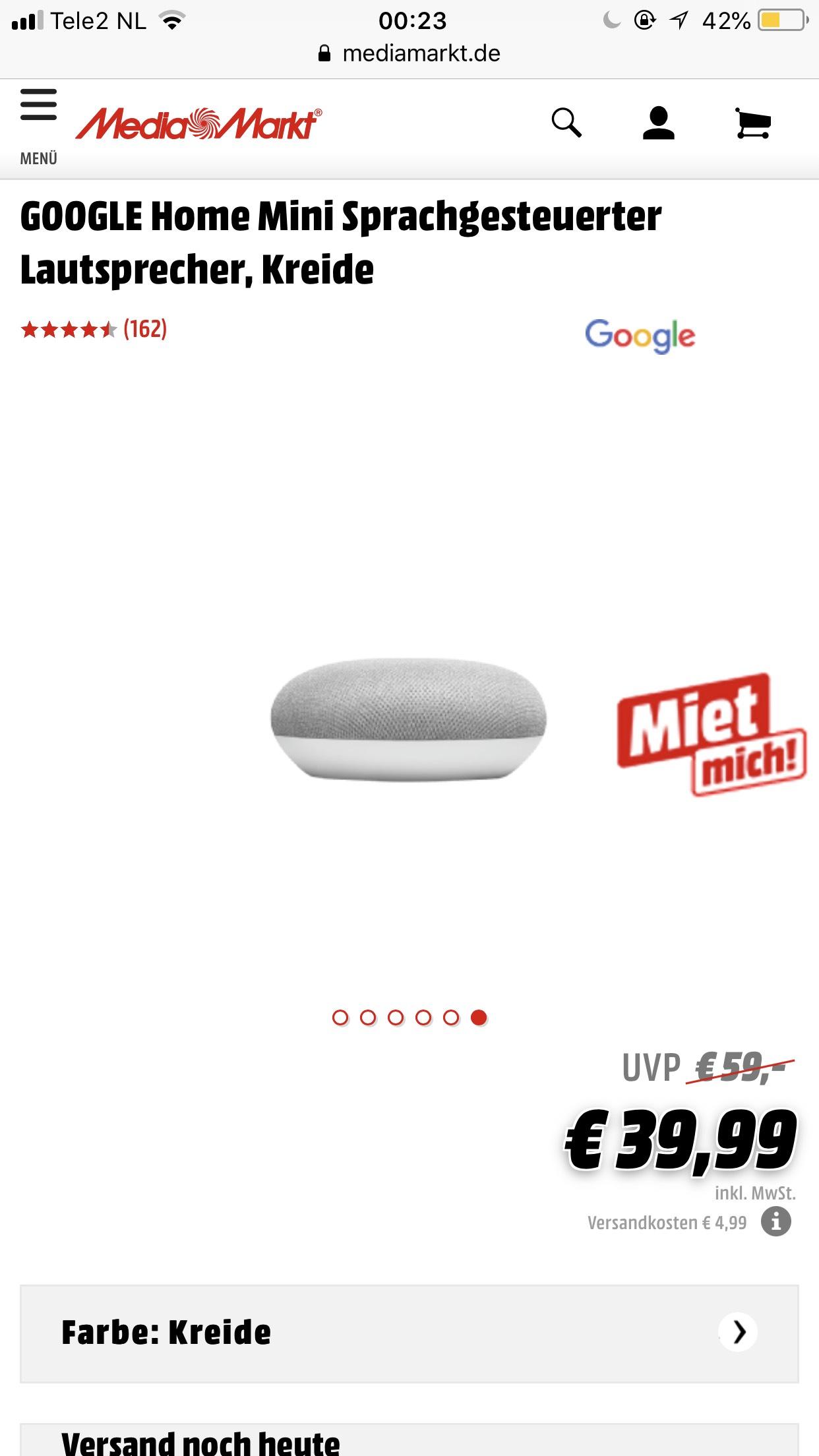Google Home mini grensdeal