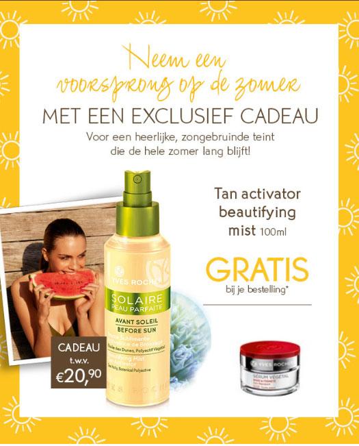 Gratis Tan Activator t.w.v. €12,50 + gratis crème t.w.v. €18,90 bij je bestelling (min €10) @ Yves Rocher