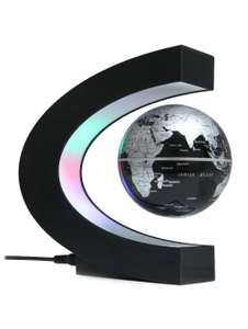 C Shape Magnetic Levitation Floating Globe World Map with LED Light Decoration voor €11,02 @Rosegal