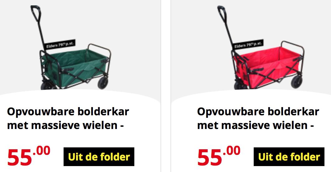 OPVOUWBARE BOLDERKAR IN GROEN OF ROOD DEZE WEEK MAAR 55,- EURO!