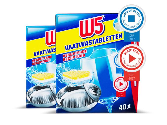 2 pakken W5 vaatwastabletten voor €5 @ Lidl