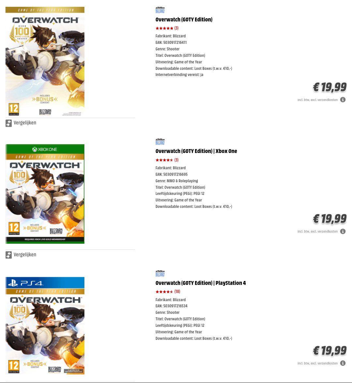 Overwatch Game of the Year Edition op elk platform(PS4 niet meer) nu €19,99 bij de Media Markt