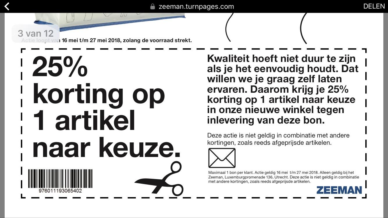Kortingscode 1 artikel 25% Zeeman Leidsche Rijn Utrecht