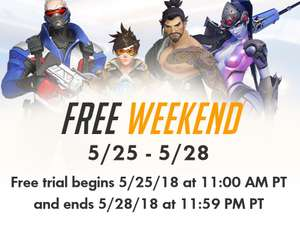 Free weekend overwatch van 25 t/m 28 mei