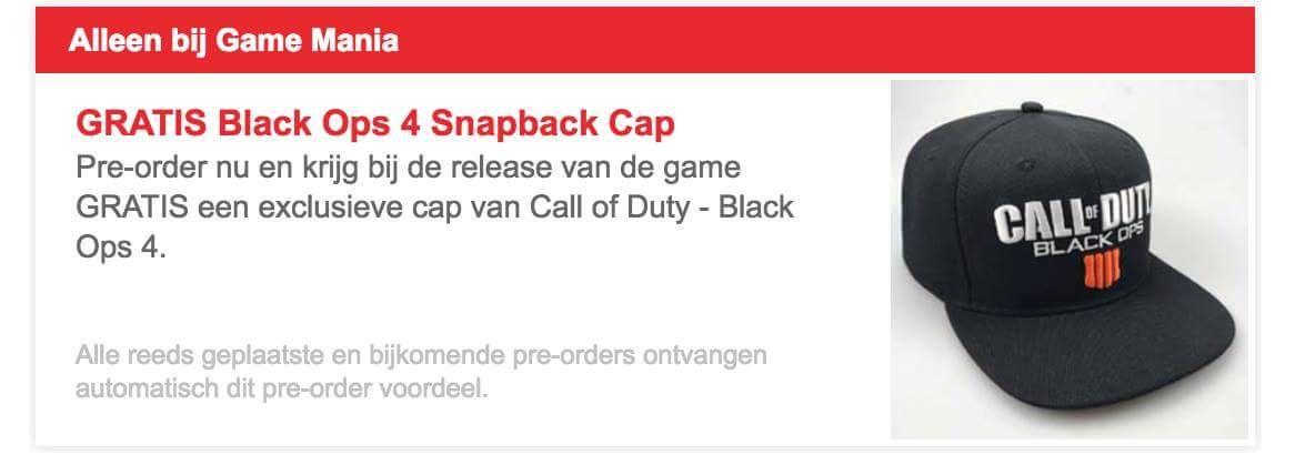 Gratis Black ops 4 Cap bij pre-order