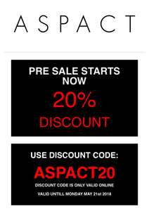 ASPACT 20% Korting Webshop Only