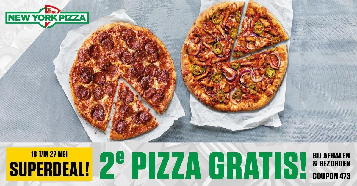 New York Pizza code 2e pizza gratis bij bezorgen EN afhalen