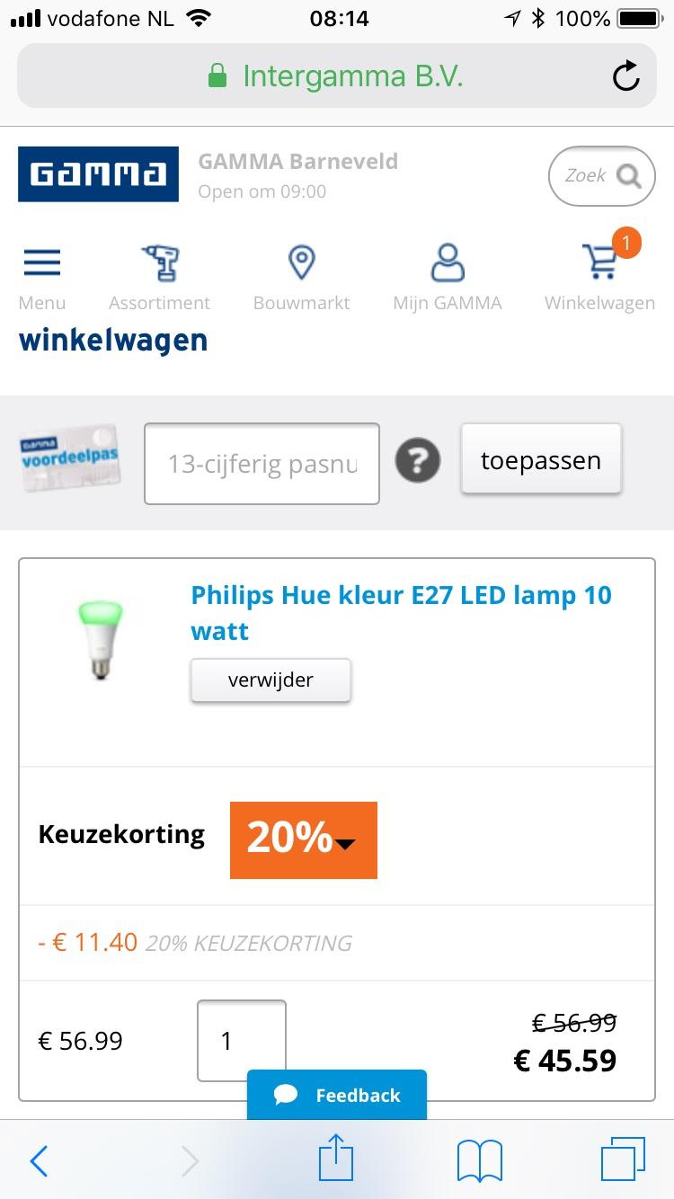 Gamma 20% keuzekorting (Pinksterweekend) ook Philips HUE