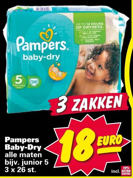 3x Pampers Baby Dry voor €18 @ Nettorama
