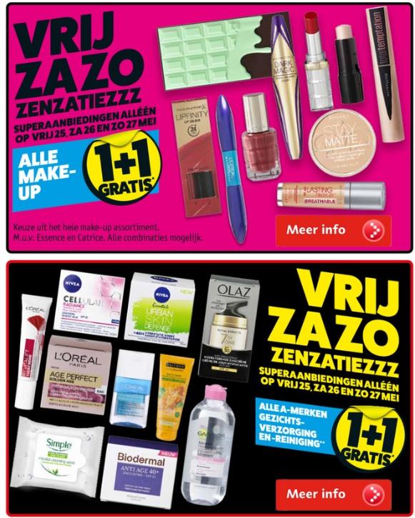 Weekendaanbieding Kruidvat: Make up 1+1 & Gezichtsverzorging en -reiniging 1+1