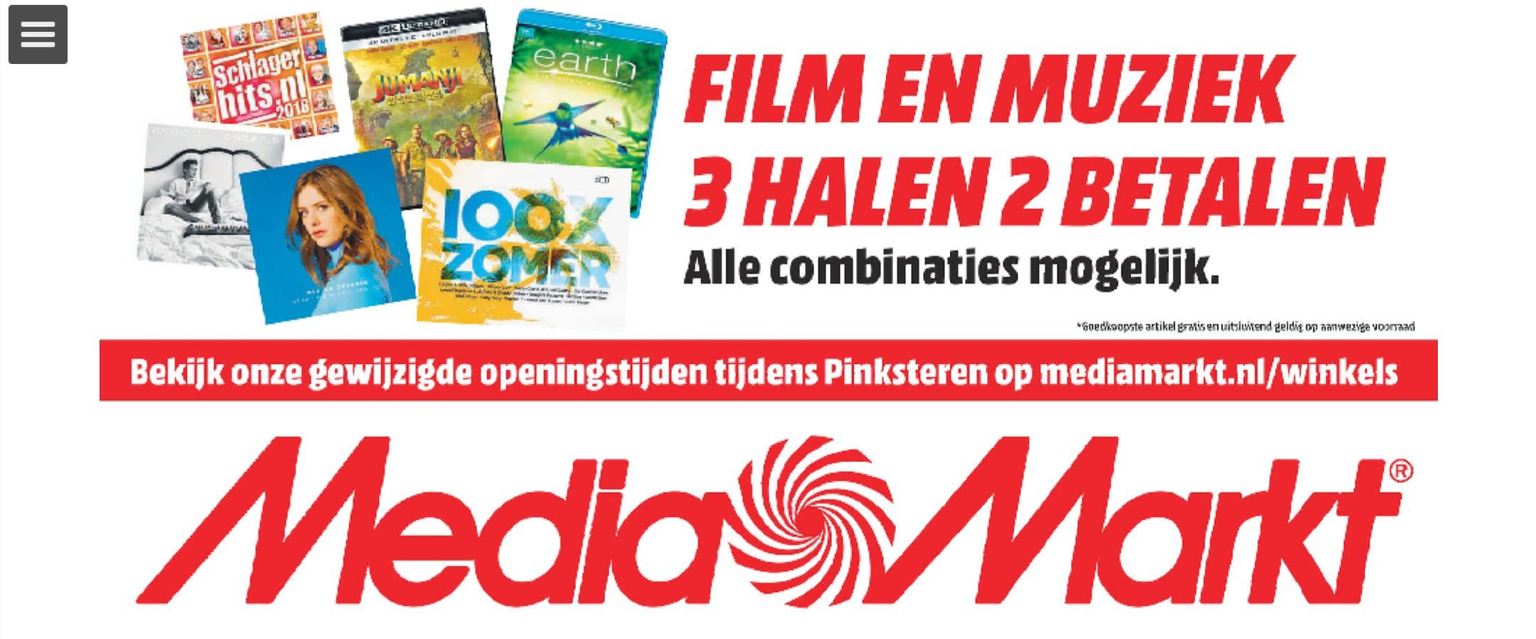 V.a. 21 mei: Film en Muziek 3 halen 2 betalen @ Mediamarkt