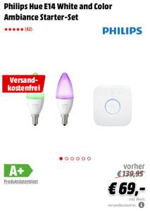(Grensdeal) Philips Hue E14 White and Color Ambiance Starter-Set