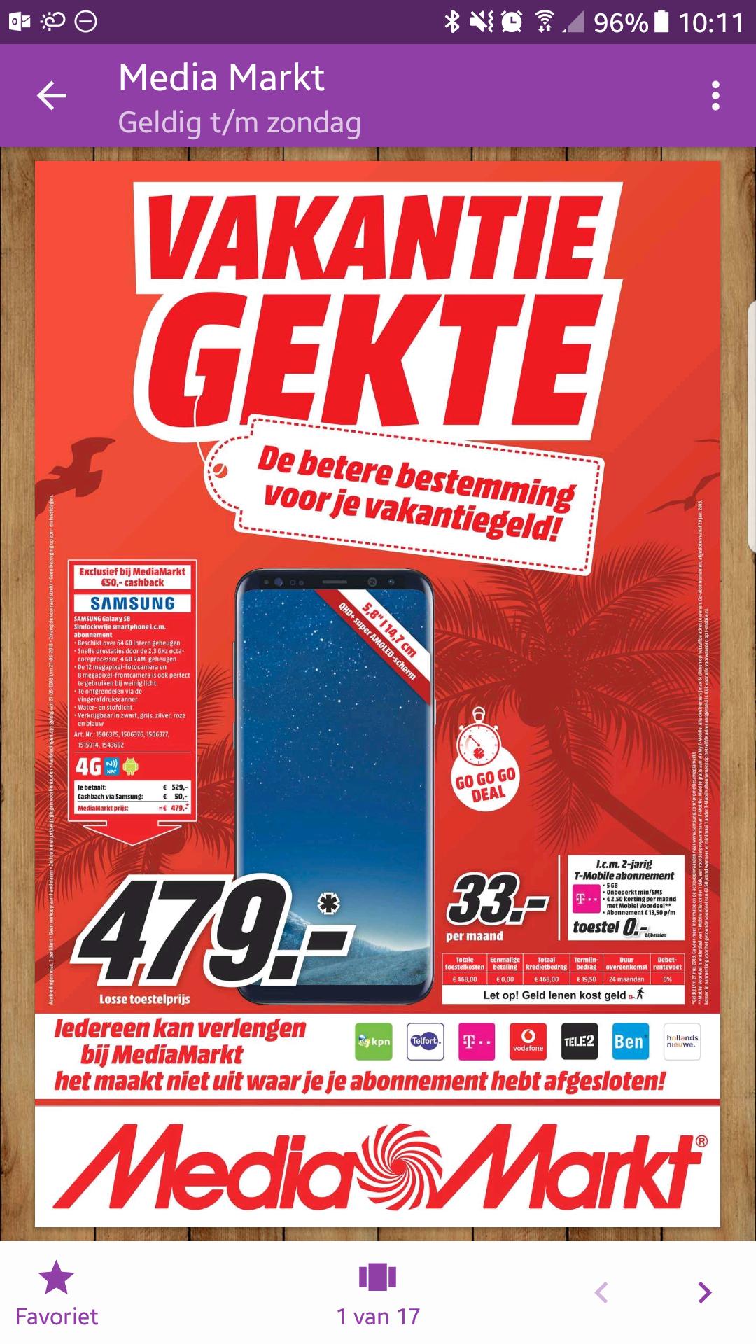 Samsung Galaxy S8 voor €479 na cashback @ Mediamarkt