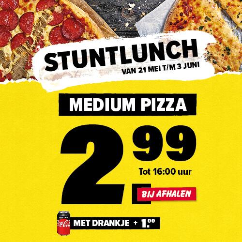 Stuntlunch: medium pizza voor €2,99 (€3,99 met drankje) tot 16:00 bij afhalen @ Domino's Deals App