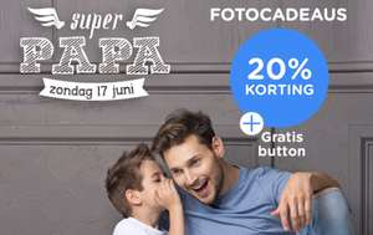 20% korting op alle fotocadeaus en gratis button bij webprint.nl