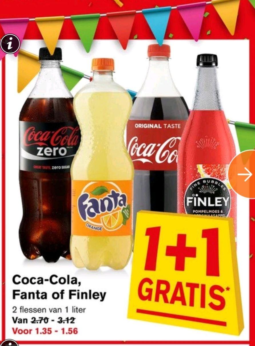 Coca cola (en Fanta+Finley) 1 + 1 gratis @ Hoogvliet