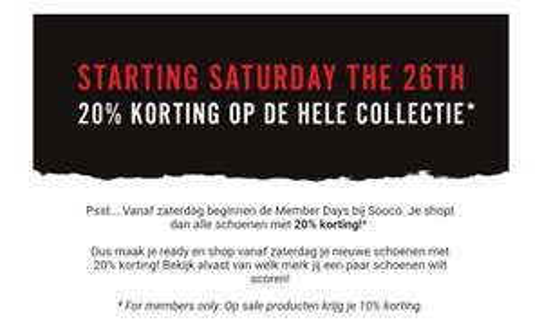 20% korting op gehele collectie schoenen, 10% op sale @Sooco