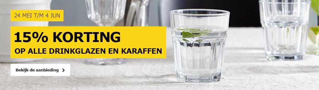 15% korting op alle drinkglazen en karaffen @ IKEA
